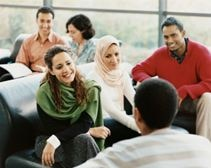 Group of diverse people in conversation