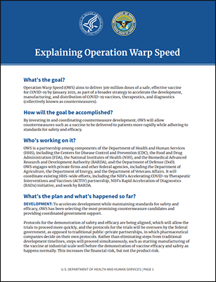 Explaining Operation Warp Speed