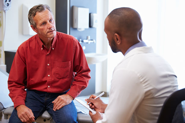 A patient and doctor discussing treatment options.