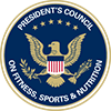 Circle with an eagle and text reading President's Council on Fitness, Sports & Nutrition