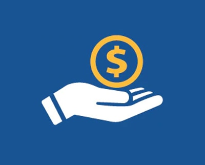 Graphic of hand holding dollar sign on a blue background