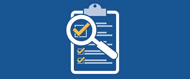 Blue graphic with a magnifying glass over piece of paper with a checklist on a clipboard