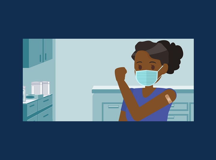 Illustration of a person in a doctors office setting, wearing a mask and showing arm with a bandaid