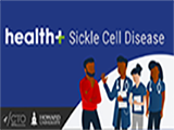 Health+ Sickle Cell Disease sponsored by HHS and Howard University's 1867 Health Innovations Project and the Center for Sickle Cell Disease. A group of people gathered together and talking in a medical setting.