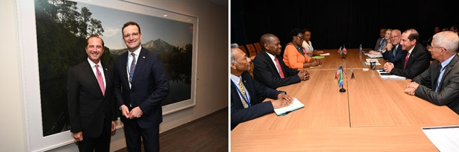 Secretary Azar meets with the German Minister of Health Jens Spahn (left), and meets with the South African Minister of Health Zweli Mkhize (right).