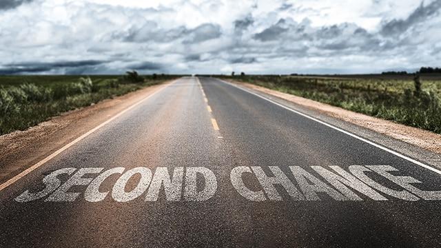 Second Chance written on an open road
