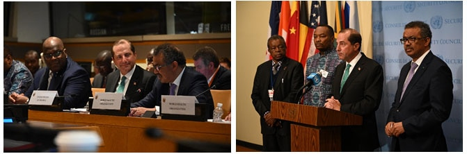 <span class='pullquote'>Secretary Azar and President Tshisekedi listen as Director-General Tedros speaks during the meeting (right), and Secretary Azar, joined by Minister Longondo, Dr. Muyembe, and Director-General Tedros, delivers remarks following the meeting (left).</span>