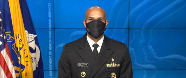 An image of Dr. Jerome Adams wearing a mask