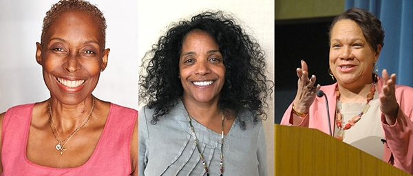 three portraits of smiling women of color, the rightmost person speaking at a podium