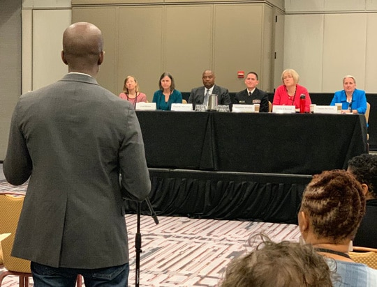 (l-r) Dr. Carolyn Wester, Dr. Gail Bolan, Dr. Eugene McCray, Dr. Jonathan Mermin, Dr. Laura Cheever, and Dr. Tammy Beckham listen to stakeholder input on March 21, 2019 in Atlanta.