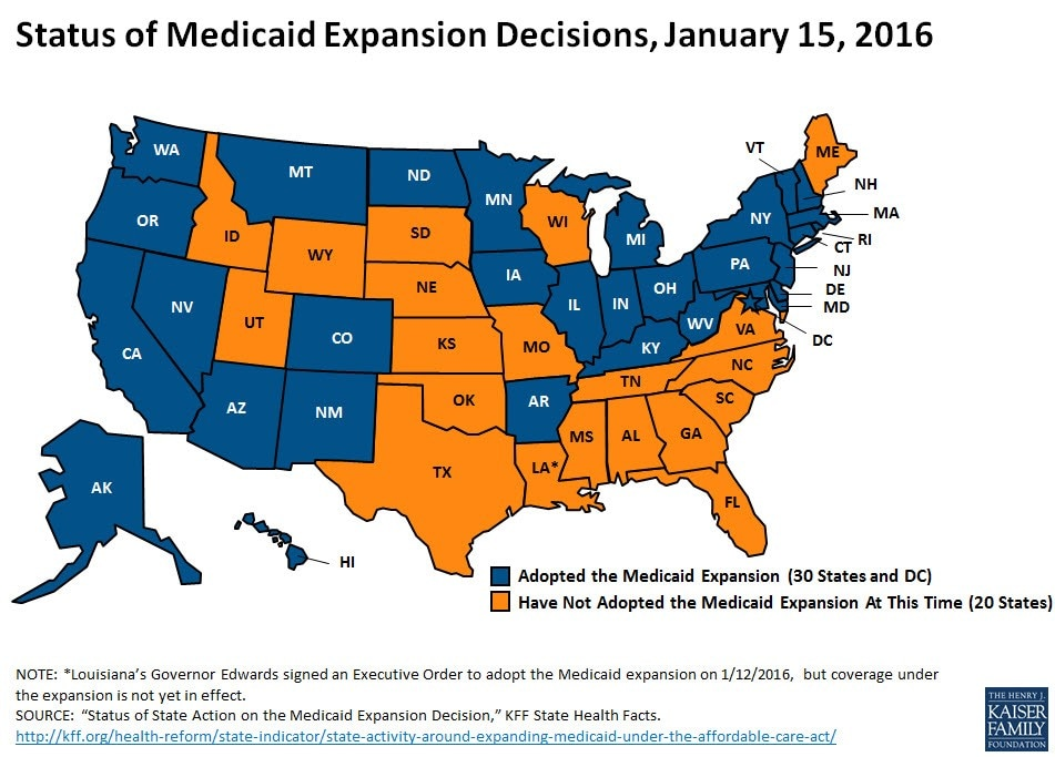 Status of Medicaid Expansion Decisions Jan 15 2016