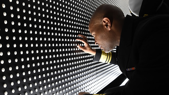 U.S. Surgeon General Jerome Adams, M.D. visited the Opioid Memorial Display on the National Ellipse in April, 2018.