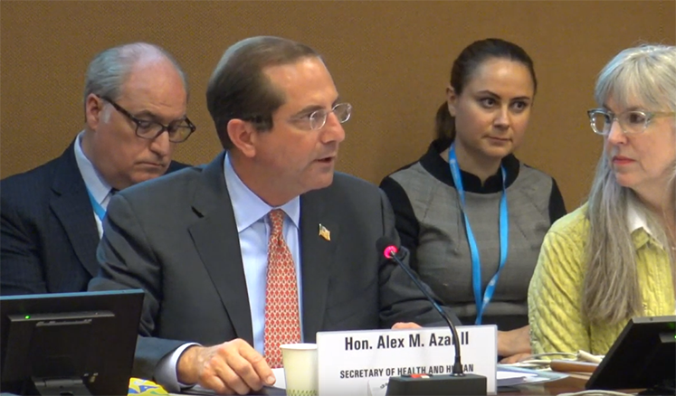 Secretary Azar speaks at the 72nd World Health Assembly