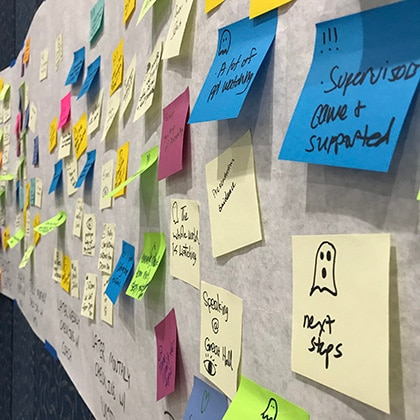 Wall of Sticky Notes from Innovation Day