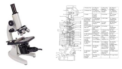 Example of complex image that includes a microscope and scientific text
