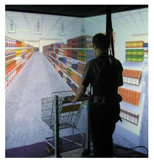 Man drives shopping cart in a virtual environment