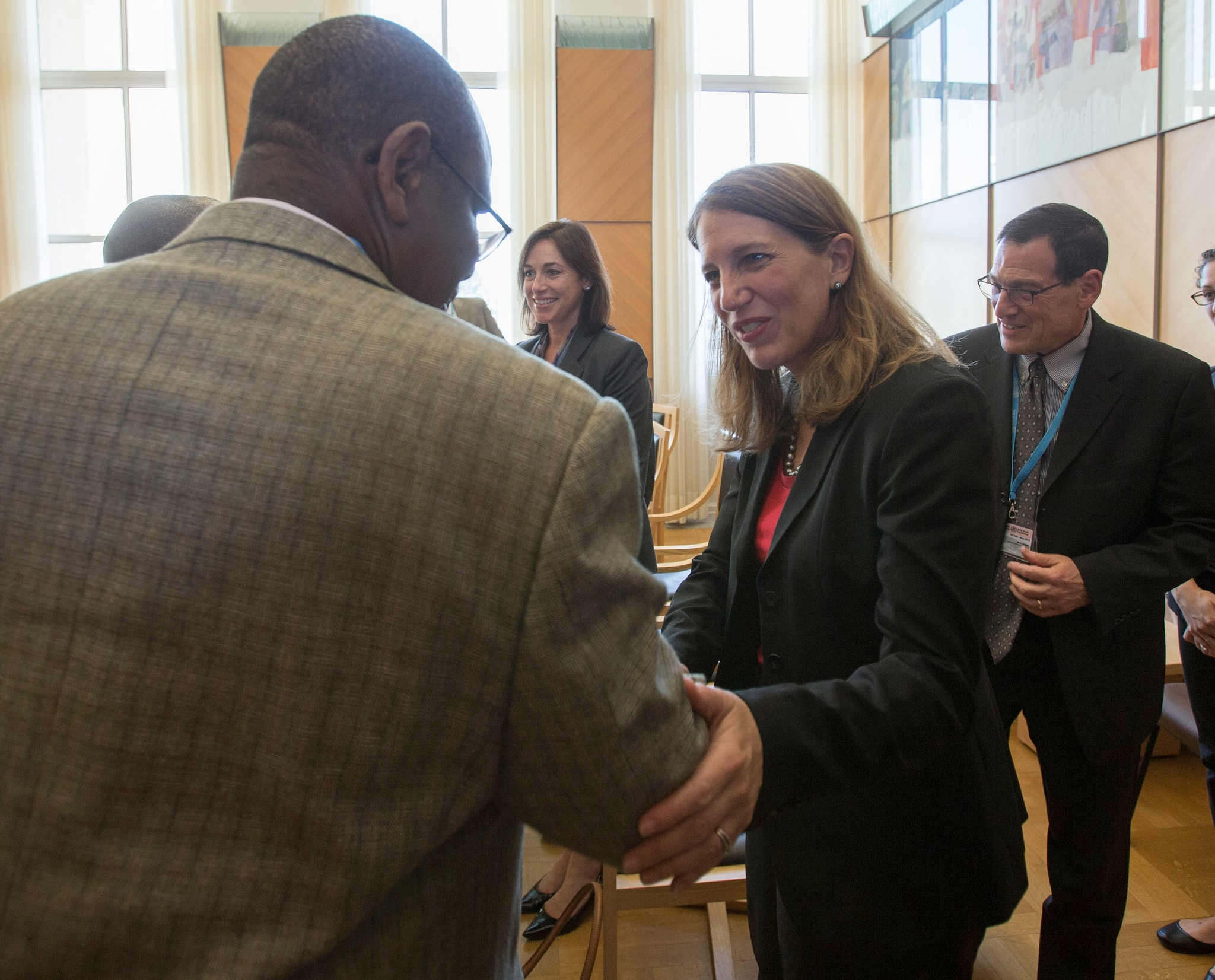 Secretary Burwell attends a World Health Assembly bilateral meeting with Guinea.