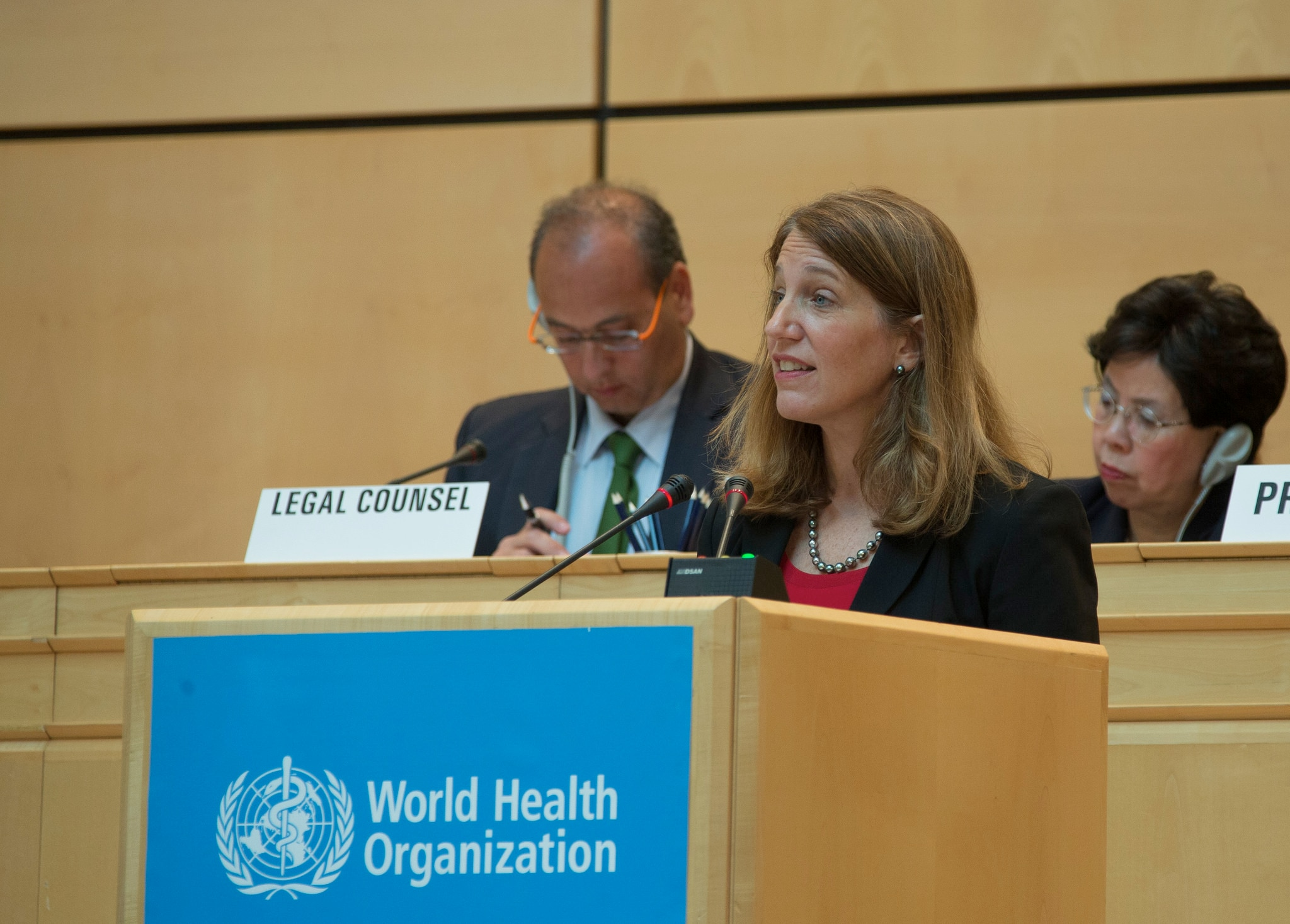 Secretary Burwell gives remarks at the World Health Assembly Plenary Session.