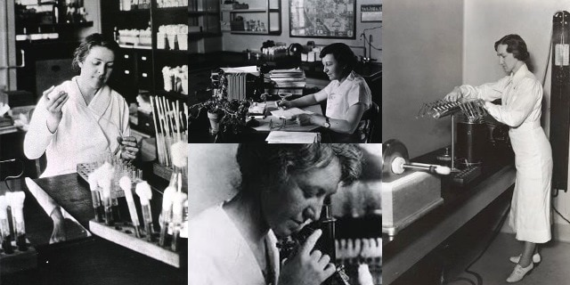 Four women scientists in black and white photos who are featured in this blog. Courtesy of the Office of NIH History and Stetten Museum, National Institutes of Health.